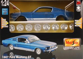 AL 1967 Mustang GT Metal -- Metal Body Plastic Model Car Kit -- 1/24 Scale -- #39260