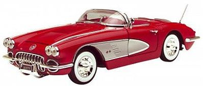 1958 Corvette Convertible Top Down (Red) -- Diecast Model Car -- 1/18 Scale -- #73109
